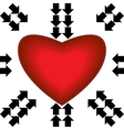 Big red heart with arrows vector image