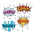 boom crash bang and oh bubble sound blast clouds vector image