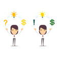 businesswoman with idea bulb and money business vector image vector image