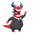 cartoon happy monster teacher presenting vector image