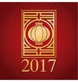 chinese new year 2017 gold lantern vector image