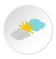 clouds and sun icon circle vector image