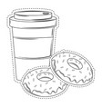 coffee cup and donuts vector image