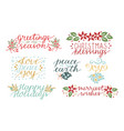 collection with 7 holiday cards made hand vector image vector image