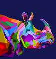 colorful rhinoceros on pop art vector image