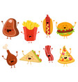 cute fast food characters set vector image vector image