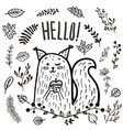 cute squirrel hand drawn vector image vector image