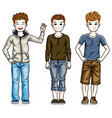 different cute little boys standing wearing vector image