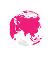 earth globe with pink world map focused on asia vector image vector image