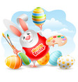 easter bunny with art paint brushes palette and vector image