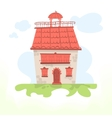 Fairy house with a tiled roof and a cockerel vector image