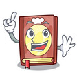 finger recipe book on the mascot shelf vector image