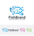 fish brand logo design vector image vector image