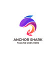 fish colorful with anchor design concept template vector image vector image