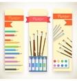 flat art painter workshop with paint supplies vector image