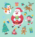 Flat cute style christmas character and element