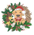 Golden Retriever and christmas wreath vector image