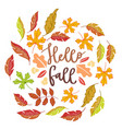 hello fall autumn poster with bright autumn birch vector image