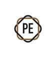 initial letter pe elegance logo design template vector image vector image