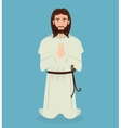 Jesus christ prayer kneeling design vector image