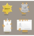 Mans Hand Holding Different Badges vector image