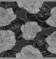 monochrome rose flower bouquets contour elements vector image