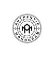 monogram letter mark am logo design isolated