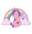 rainbow and unicorns design vector image vector image