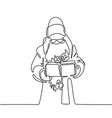 santa claus with gift box vector image vector image