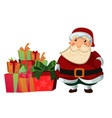 santa claus with of gift and present boxes vector image