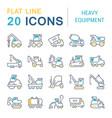set line icons heavy equipment vector image vector image