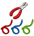 Set of wires and pliers work tool vector image vector image
