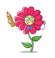 student with pencil pink flower character cartoon vector image vector image