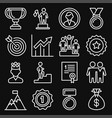 success and victory icons set on black background vector image vector image