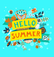 summer floral banner enjoy summer lettering cute vector image