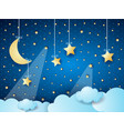 surreal cloudscape by night with moon and hanging vector image