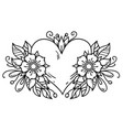 tattoo heart decorated ribbon flowers leaves vector image