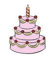 three-tiered birthday cake icon cartoon vector image vector image