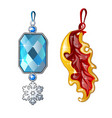 two precious female jewelry pendant vector image