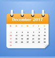 usa calendar for december 2017 vector image vector image