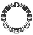 valentines day round frame of the icons set of vector image