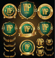 vip member golden badge collection vector image