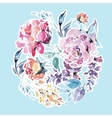 watercolor floral round frame red roses vector image vector image