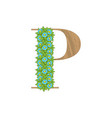 wooden leaves letter p vector image