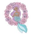 wreath mermaid floral sea princess vector image vector image