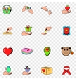 Charity set icons vector image