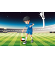A boy kicking the ball with the United Arab vector image vector image