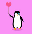 arctic cartoon penguin with a pink ball vector image vector image