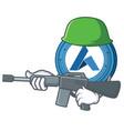 army ardor coin character cartoon vector image vector image