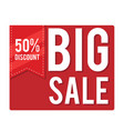 big sale 50 discount red square frame imag vector image